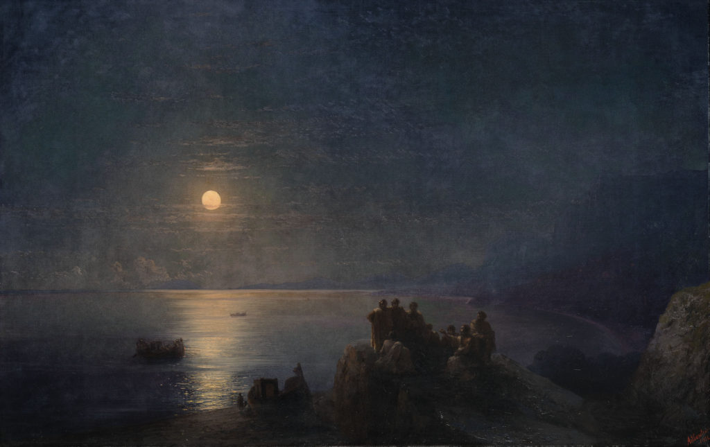 «Античные поэты на морском берегу в лунную ночь», 1886г.
