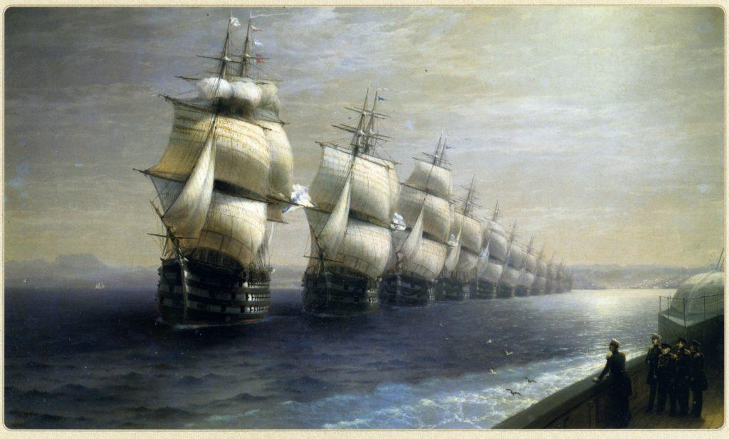 «Смотр войск черноморского флота в 1849 году», 1886г.